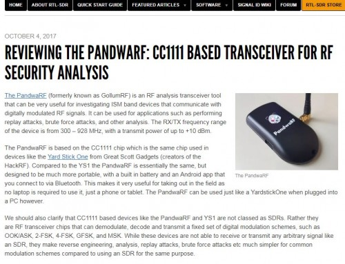 RTL-SDR blog reviews PandwaRF